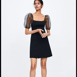 Zara black knit ribbed puffy elastic sleeves dress